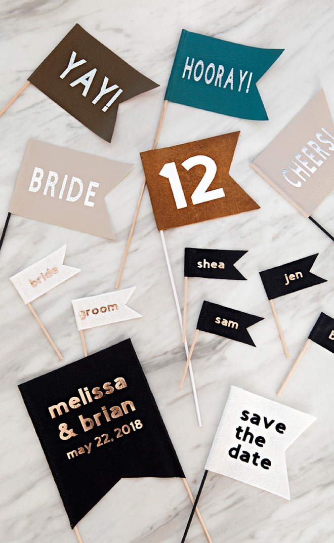 These DIY personalized fabric wedding flags are SUPER easy to make with the Cricut Maker!