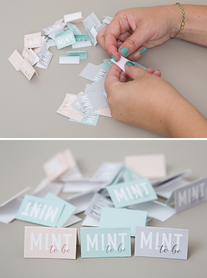 We're obsessing over these DIY Mint To Be favors, print the tags for free!