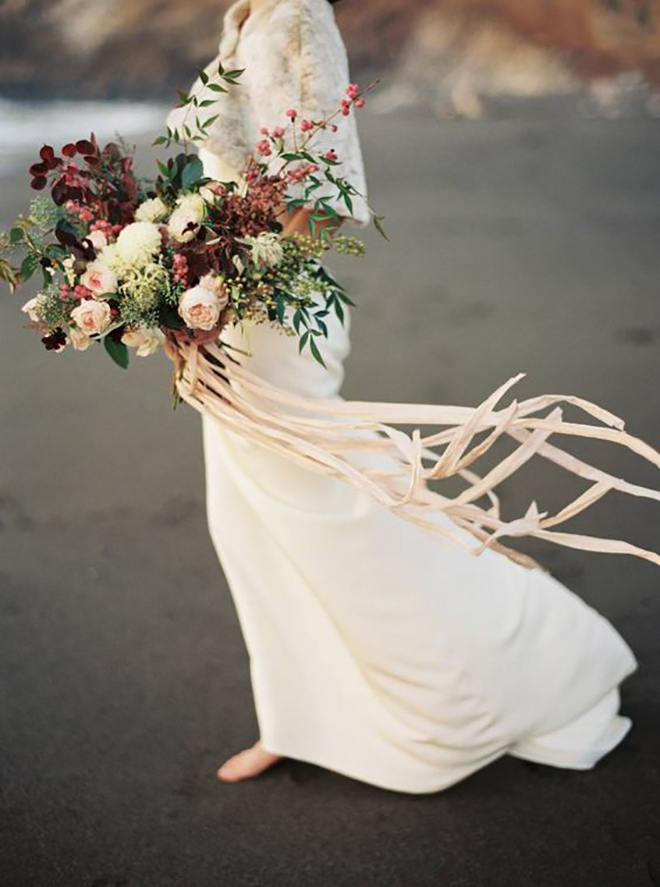 Leafy and floral bridal bouquet.