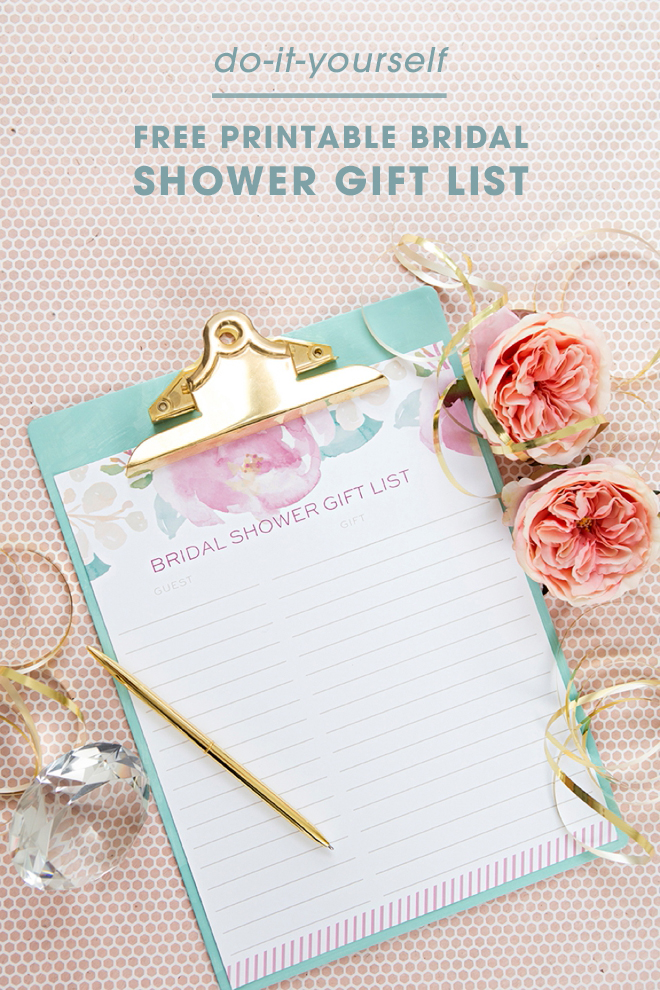 Isn't this FREE printable bridal shower gift list just adorable!?