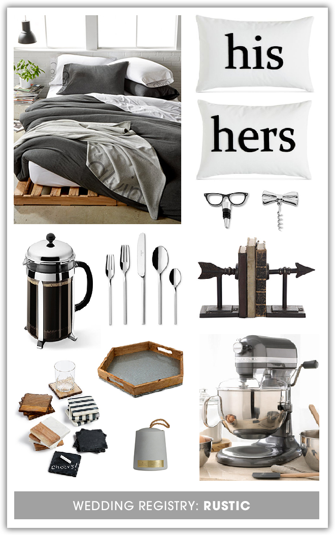 Awesome rustic gift ideas for your Macy's wedding registry!