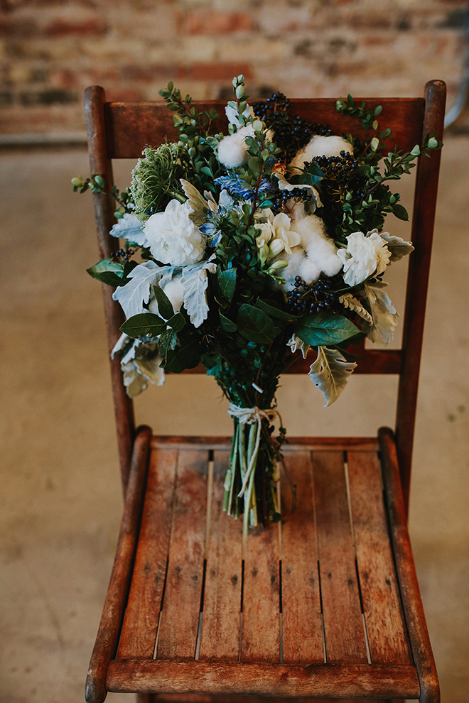Blue toned fall wedding bouquet.
