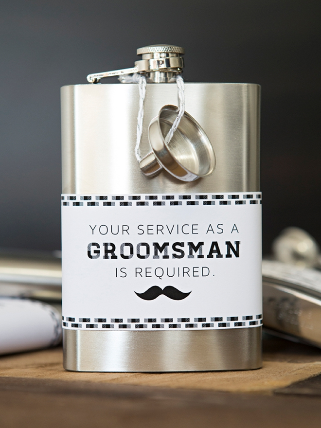 DIY Your Service As A Groomsman Is Required flask labels, SO cute!