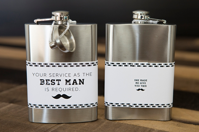 DIY Your Service As The Best Man Is Required flask labels, SO cute!