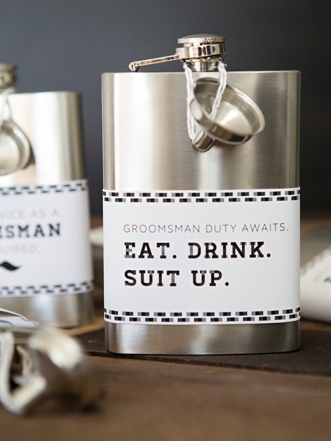 These DIY Eat, Drink, Suit Up, Groomsman Flasks are adorable!
