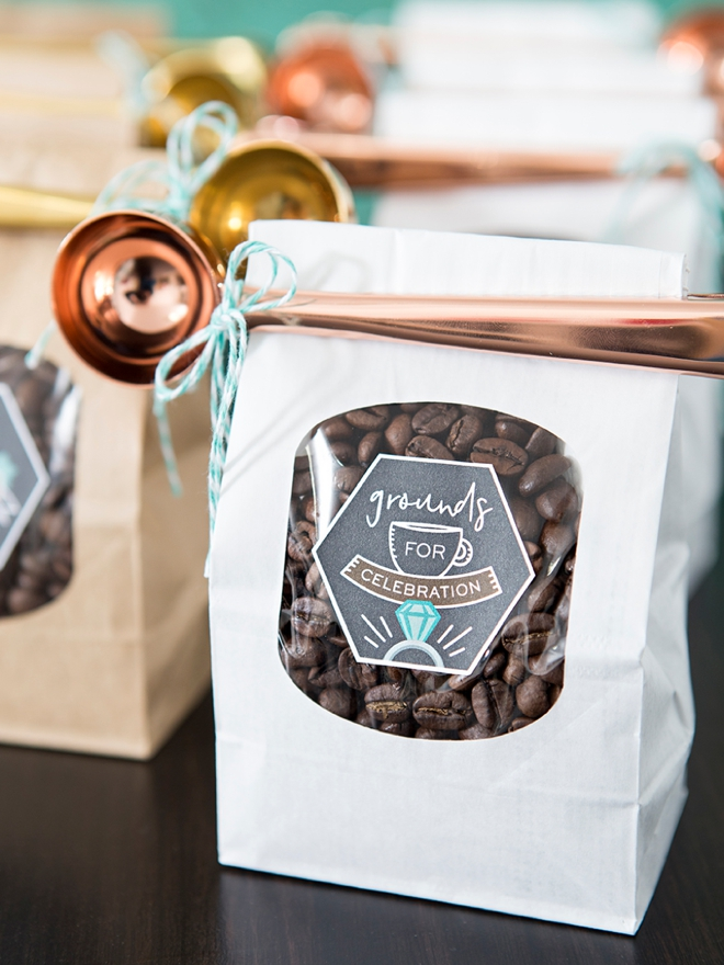 These DIY, Grounds for Celebration coffee wedding favors are the cutest!!