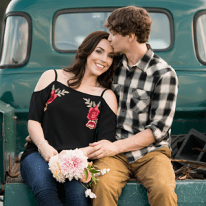 We're crushing on this couple's super darling rustic engagement snap!