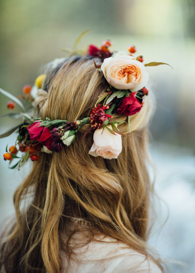 Boho, bright flower crown is perfect for a winder wedding.