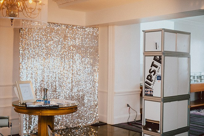 We're loving this cute silver photo booth at this gorgeous wedding!