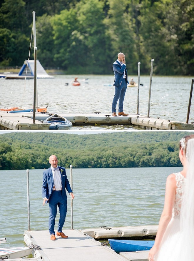How darling is this Groom's reaction to his Bride at their first look!