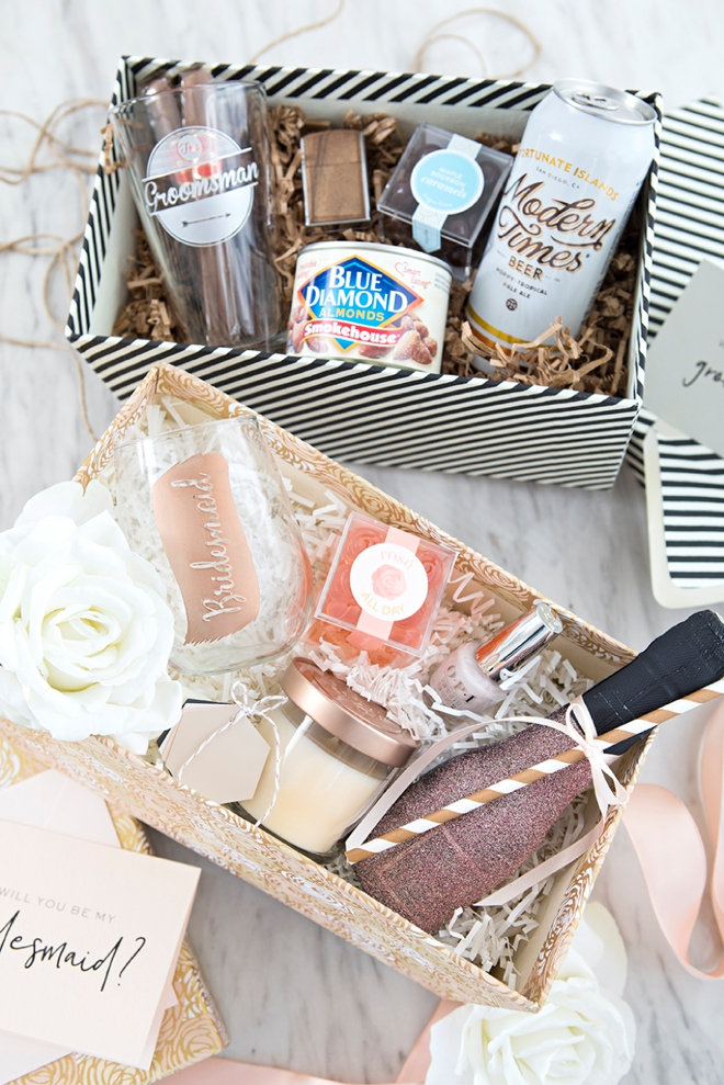These DIY will you by my bridesmaid and groomsman gift boxes are SO cute!