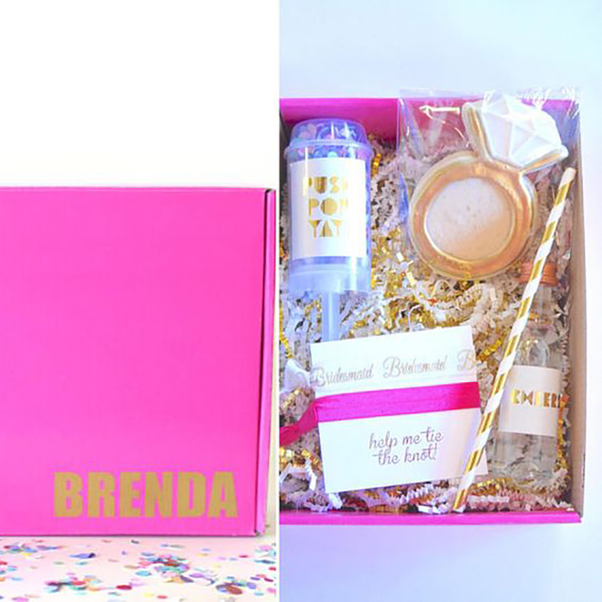 This cute box is the perfect way to ask your gals.