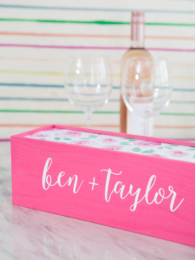 Learn how to make your own wedding wine keepsake box!