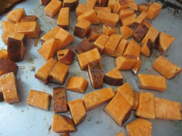 Prepping the Bourbon-Maple Roasted Sweet Potatoes by somethingwewhippedup.com