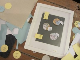 Laying out the design. (Framing A Love Story - A wedding shower gift by somethingwewhippedup.com)