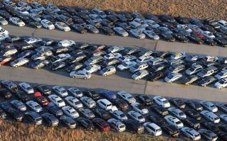 Hurricane Sandy flood damage cars parked at airport