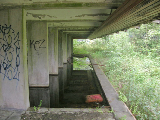 St. Peter's Seminary refectory sunken seating today (courtesy maccoinnich)