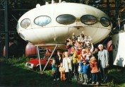 Witte with kids and a Futuro House