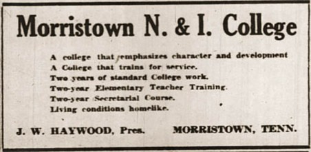 Morristown N. & I. College advertisement, circa 1939