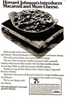 An advertisement for Howard Johnson's frozen entrees, circa 1968