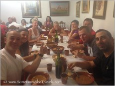 Family-style dinner in Boadilla