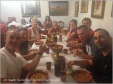 Family-style dinner in Boadilla