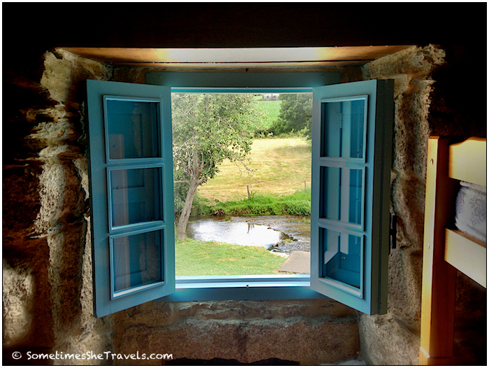 view from blue window of river