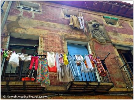laundry hanging on balcony