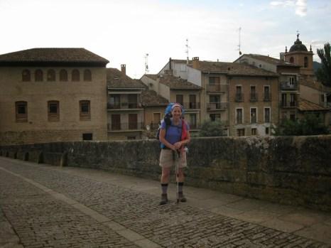 Peregrina Suzanne on the Puente la Reina