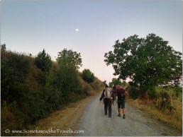 The full moon rising over the Camino at dawn