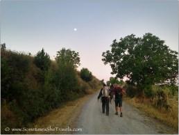 The full moon rising over the Camino at dawn