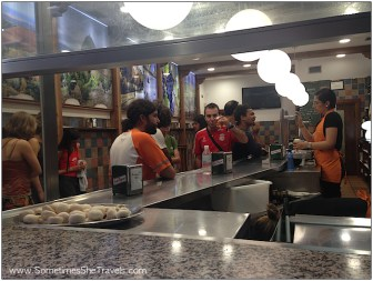 First pintxos stop, Bar Soriano for their famous mushroom/shrimp pintxos. Great blog post about pinchos bars in Logroño.