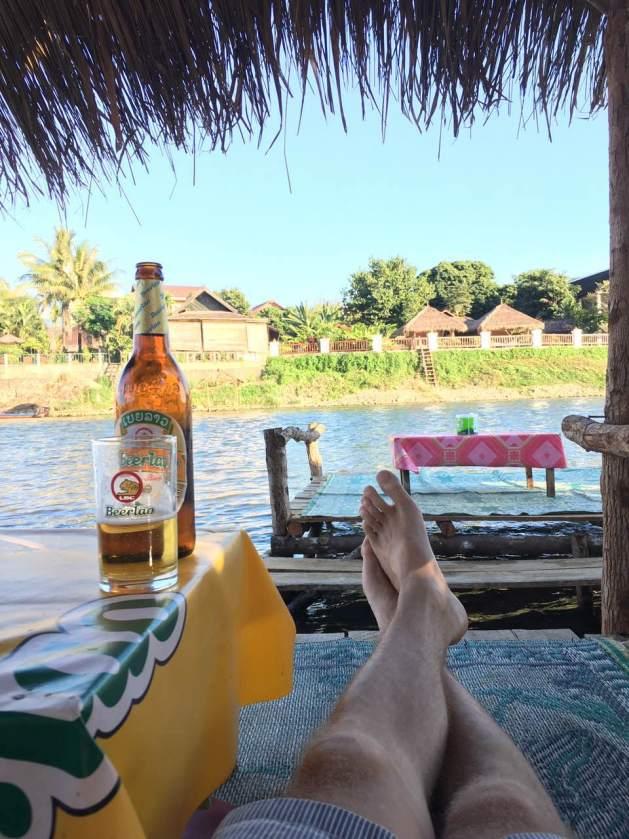 Beer Lao and Nam Song river, Vang Vieng, Laos
