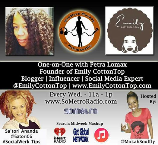 MidWeek MashUp hosted by @MokahSoulFly with special contributor @Satori06 Show 45 Feb 22 2017 Guest Petra Emily Lomax from the website CottonTop