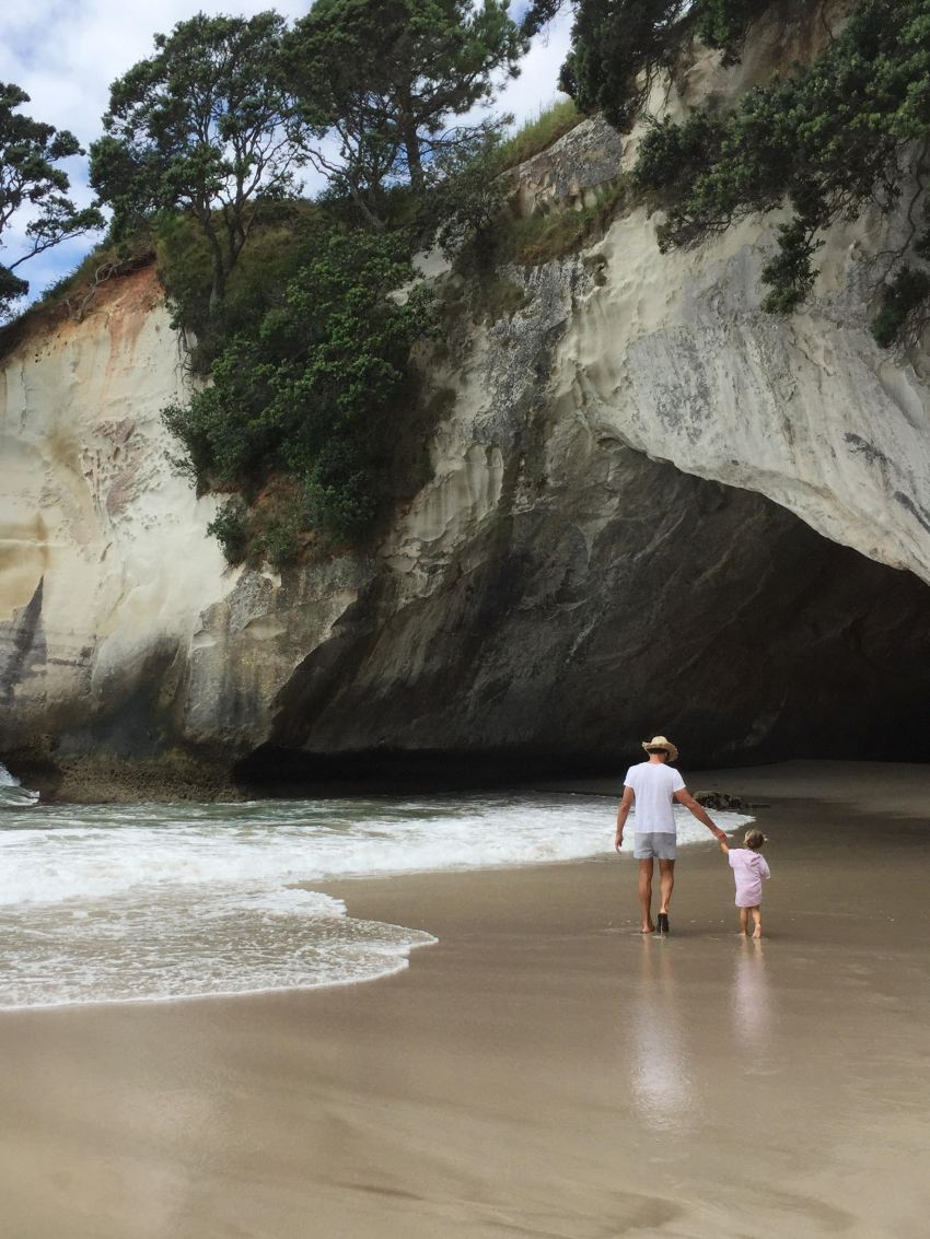 Michael and Marlow at Cathedral cove