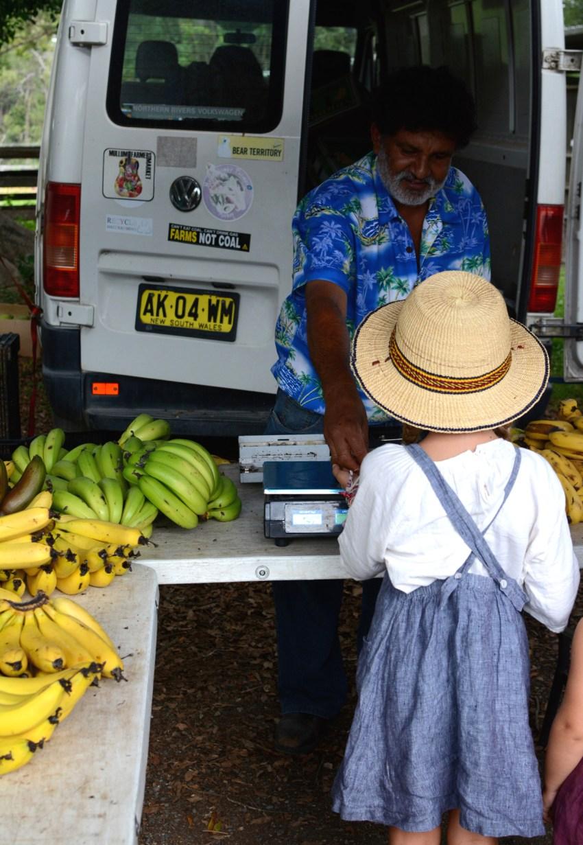 Ivy buying bananas