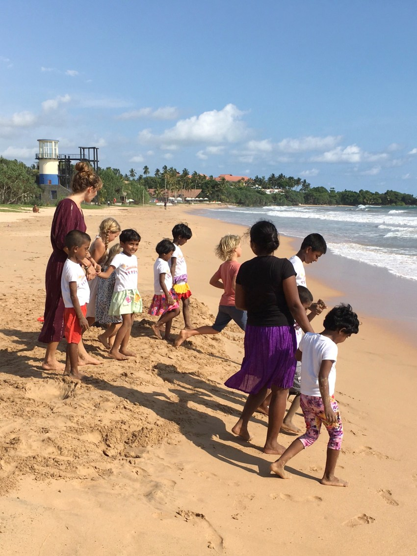 at the beach with the children from the rainbow centre