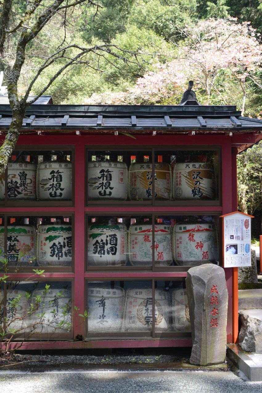 sake barrels at Hakone Shrine