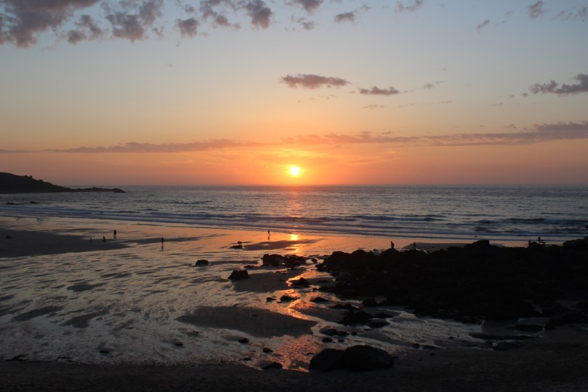 sunset on porthmeor beach