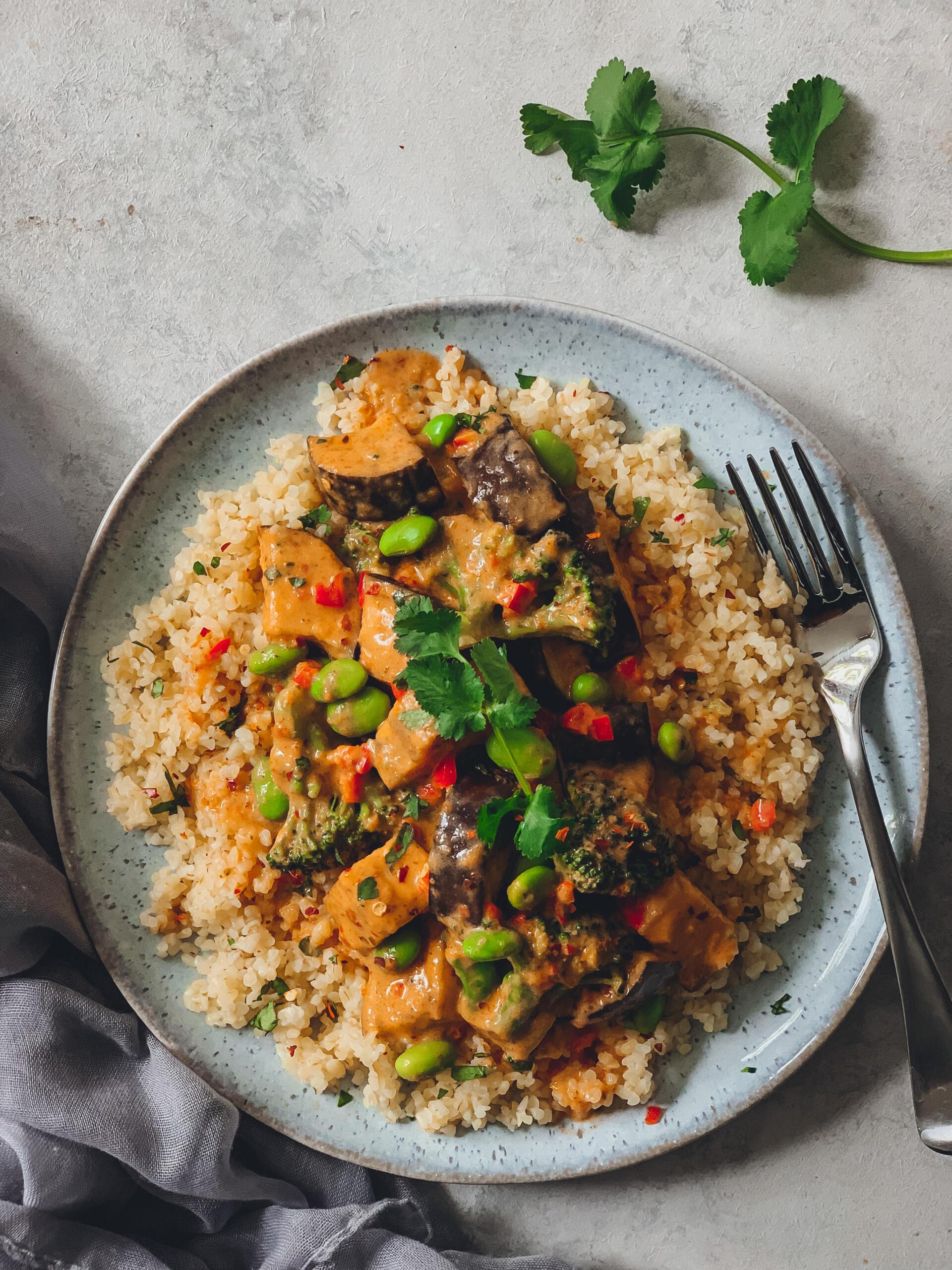 Aubergine and Broccoli Curry