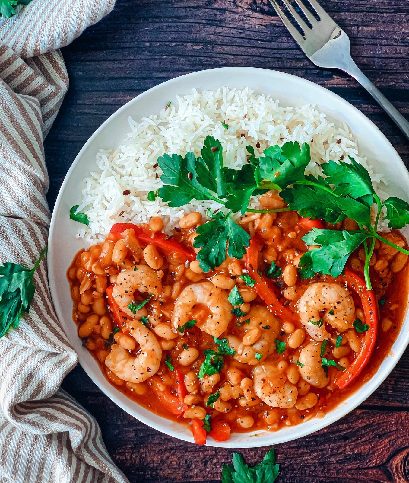 spicy bean and prawn stew