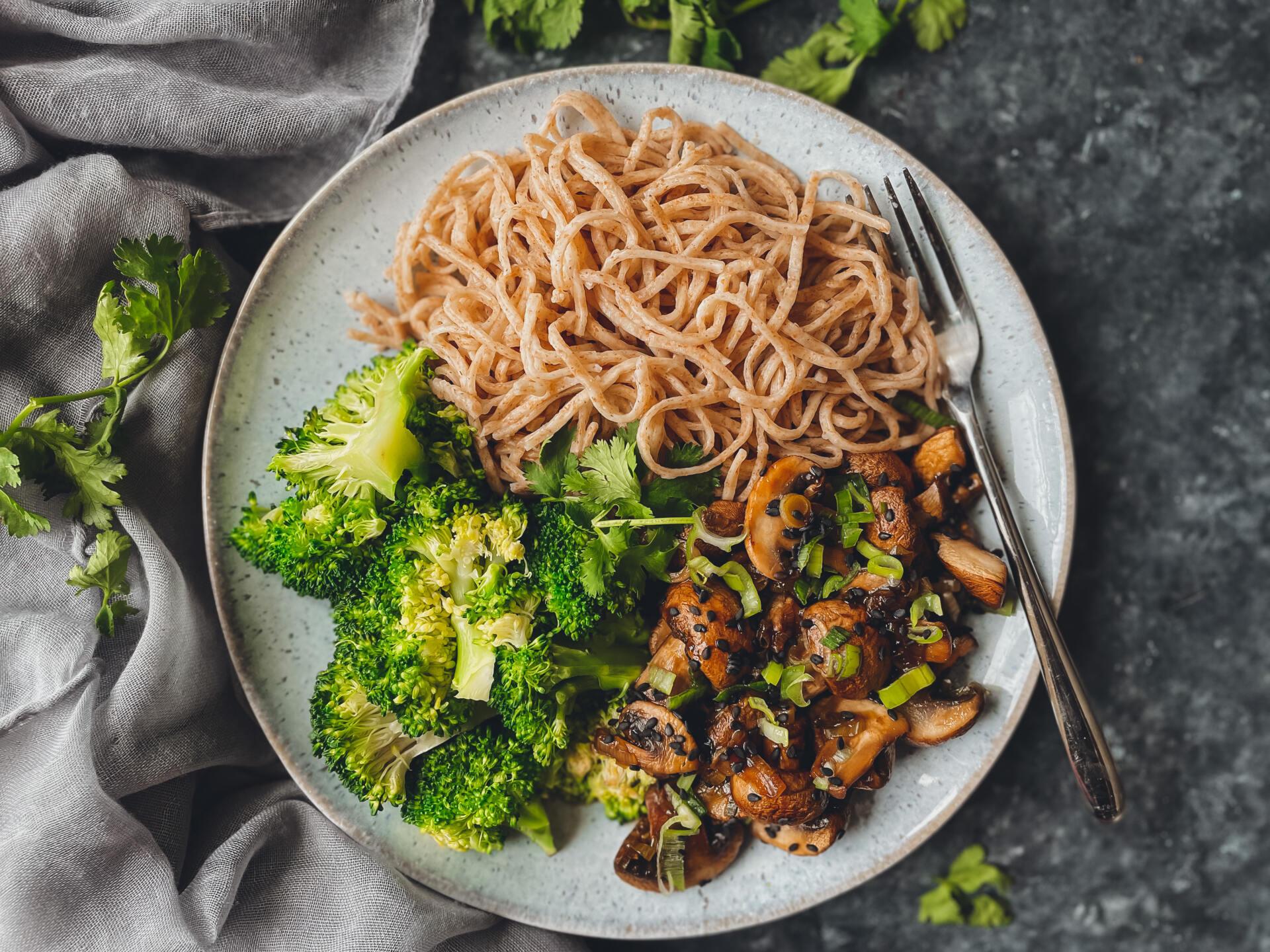 Teriyaki Mushrooms with Wholewheat Noodles
