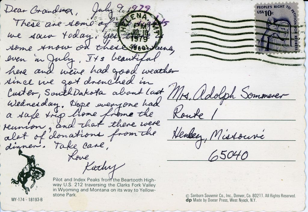 Photo Friday: Postcard from Kathy 1979