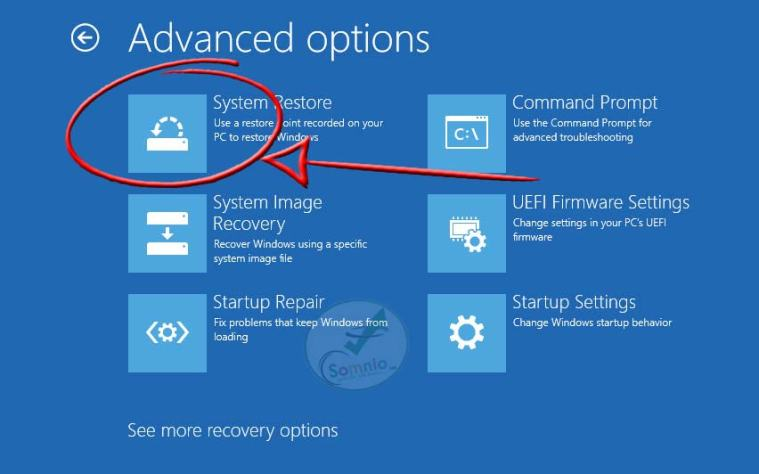 System Restore from boot using command