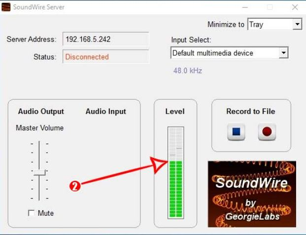 SoundWire server server level meter windows