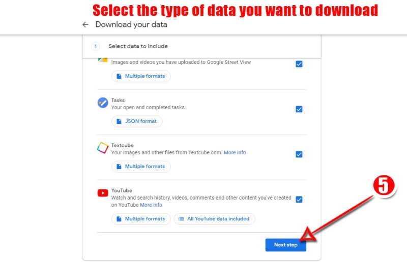 Select the type of data your Want to download