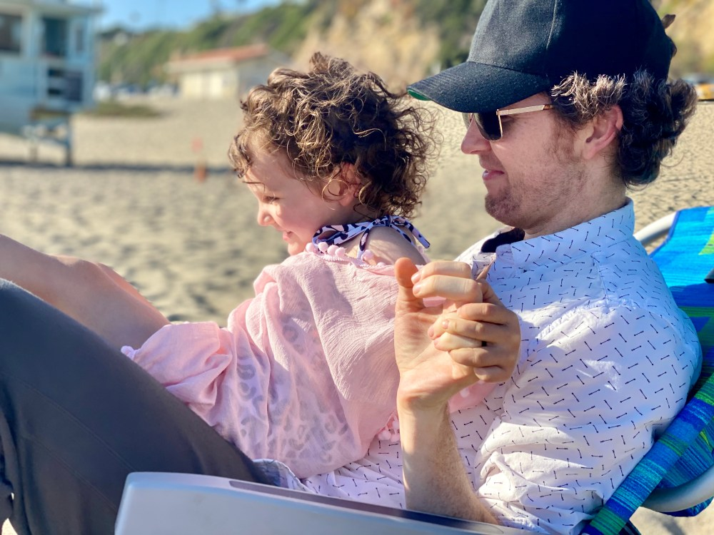 dad and toddler at malibu beach