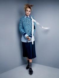Carven Sweater. Turnbull & Asser Shirt. Gucci Skirt. Miu Miu Earrings. Victoria Beckham Shoes.
