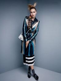 Calvin Klein Collection top, skirt, & belt. Miu Miu bag. Prada Shoes