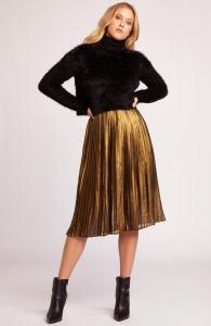 BB Dakota-foil-the-trouble-pleated-skirt